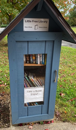 Our Little Library! Take a book, leave a book. No need to sign out